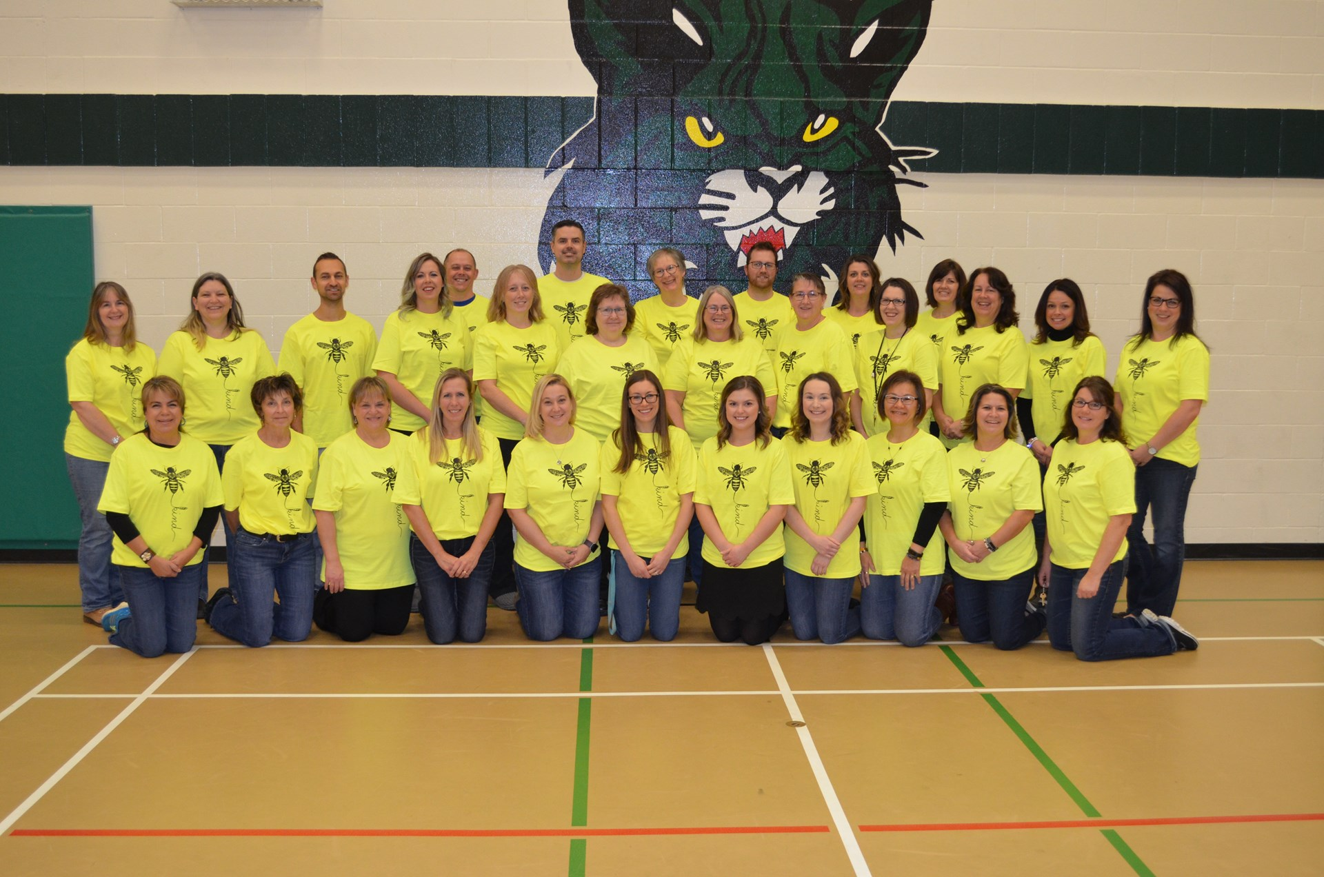 "BES Staff Wearing their ""BEE KIND"" T-Shirts"