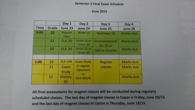 June Final Exam Schedule