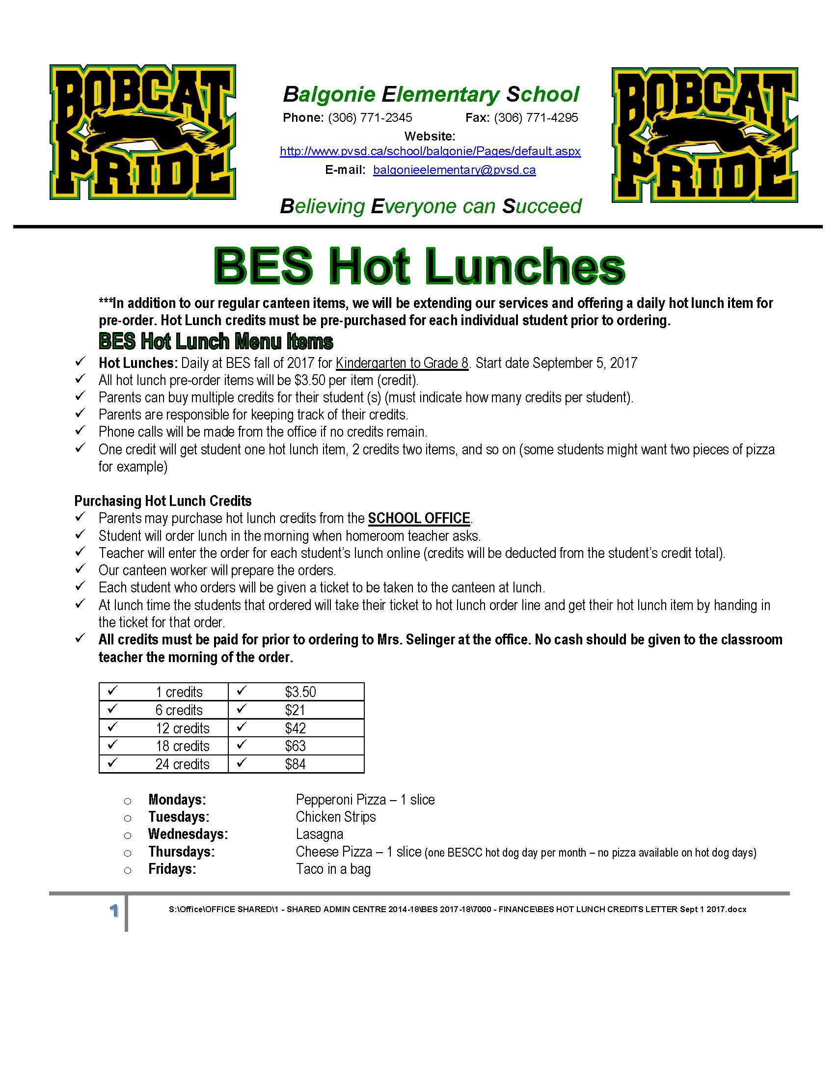 BES HOT LUNCH CREDITS LETTER Sept 1 2017.jpg